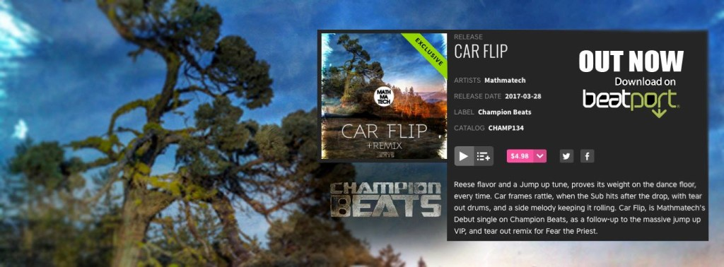 Beatport exclusive banner Mathmatech car flip